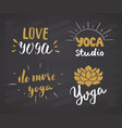 yoga hand drawn labels set calligraphic vector image vector image