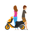 young man and woman standing next to the scooter vector image vector image