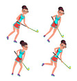 young woman field hockey player grass vector image