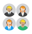 Set of icons with the callcenter agents talking vector image