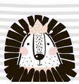 cute cartoon lion girl with crown in scandinavian vector image