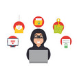 online money thief hacker in internet vector image