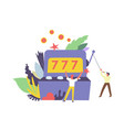 777 gambler and machine for winning money isolated vector image vector image