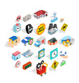administrative center icons set isometric style vector image vector image
