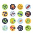Bacteria virus icons set vector image vector image