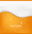 beer color texture with bubbles and white foam vector image