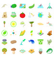 biology science icons set cartoon style vector image vector image