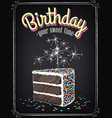 birthday invitation a piece birthday cake vector image