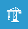building crane icon white on the blue background vector image vector image