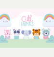 cartoon cute animals characters rainbow clouds vector image