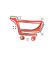 cartoon shopping cart icon in comic style shop vector image vector image