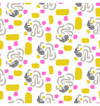 chaotic abstract shapes seamless yellow and vector image vector image