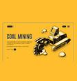 coal mining company isometric website vector image vector image