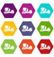 concrete mixer truck icon set color hexahedron vector image vector image