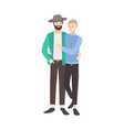 couple of young men dressed in modern clothing vector image vector image