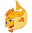 Cute gold fish cartoon vector image