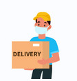 delivery man in face mask courier holding vector image vector image