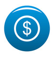 dollar icon blue vector image
