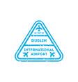 Dublin city visa stamp on passport