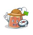 explorer tea bag character cartoon vector image vector image