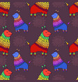 fantastic animal character seamless pattern funny vector image