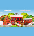 farm scene with farmer boy and animals