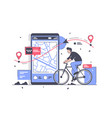flat man with bicycle and way on mobile phone map vector image