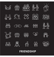 friendship editable line icons set on black vector image vector image
