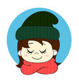 girl in knitted hat and scarf hello winter vector image vector image