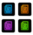 glowing neon raw file document icon download raw vector image vector image