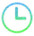 halftone blue-green clock icon vector image vector image