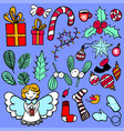 hand-drawn christmas elements vector image