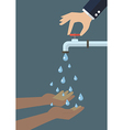 Hands cup falling water out of the tap vector image vector image