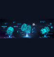 head up display with holograms 3d models parts vector image vector image