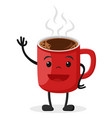 hot coffee in a cup smiling and waving vector image