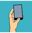 Human hand holding smart phone vector image