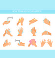 instruction how to wash hands vector image