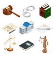 isometric icons of isolated public justice symbols vector image vector image