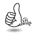 Man show big thumb up while floating vector image vector image
