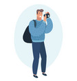 man taking photo with digital camera side view vector image vector image
