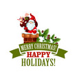 merry christmas santa xmas tree icon vector image