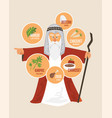 moses over traditional passover food jewish vector image vector image