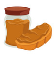 peanut butter in jar and on bread isolated nut vector image