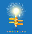 pencil light bulb as creative concept vector image vector image