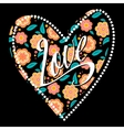 Postcard with heart on dark floral pattern vector image vector image