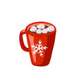 red mug with cocoa icon isolated on white vector image