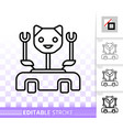 robot cat simple black line icon vector image vector image
