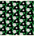 seamless floral pattern with white rose flowers vector image