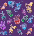 seamless pattern of hand drawn houseplants in pots vector image
