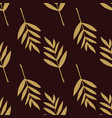 seamless pattern with fern leaves gold vector image